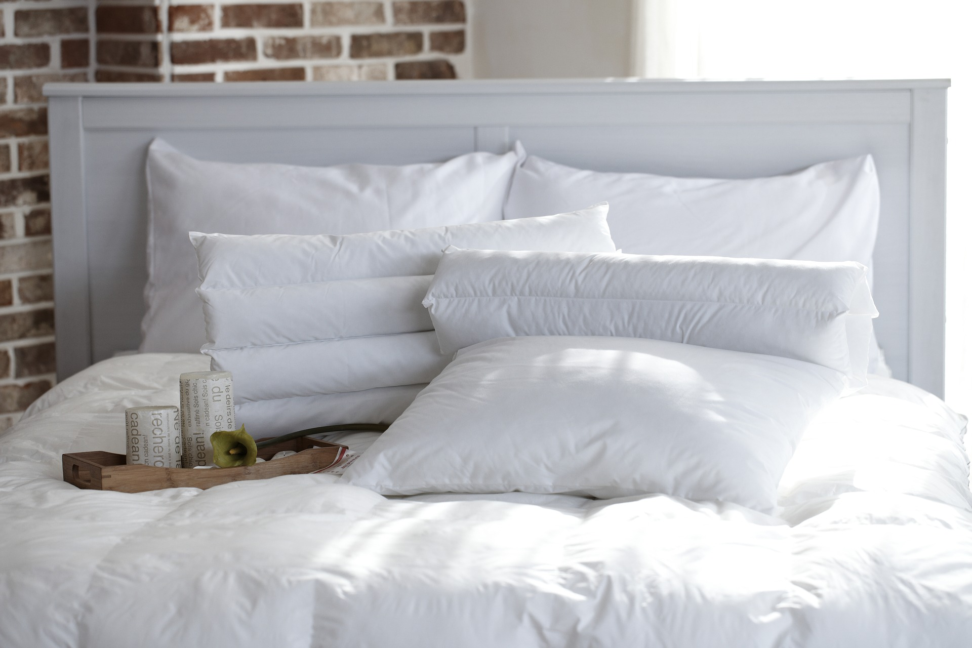 memory foam pillows on bed